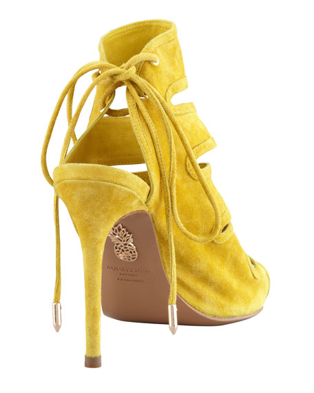 Slone Slit-Front Suede Bootie, Yellow
