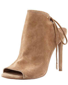 Aquazzura Mayfair Lace-Up Suede Bootie, Nude