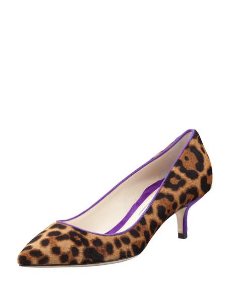 Low-Heel Leopard-Print Calf Hair Pump, Gold/Violet