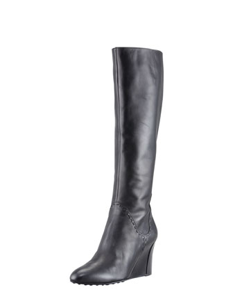 Zeppa Tall Wedge Boot, Black