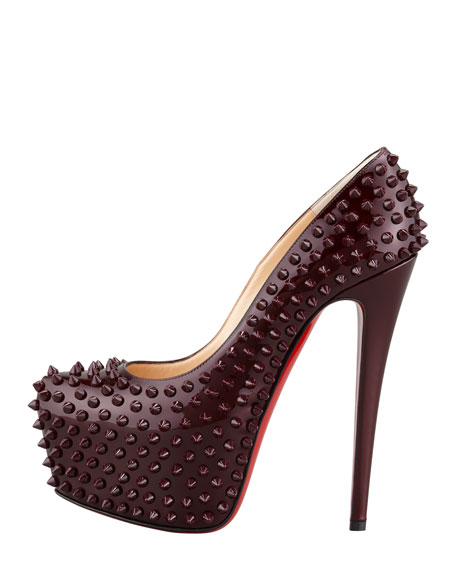 Daffodile Spiked Platform Red Sole Pump, Rouge Noir