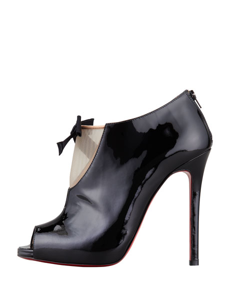 Estandono Patent Bow Bootie, Black