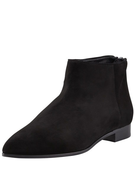 Suede Point-Toe Flat Ankle Boot, Black