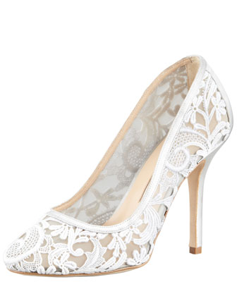 Lace-Mesh Pump, Gray