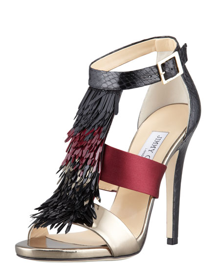 Fedora Fringe Mixed-Media Sandal, Claret