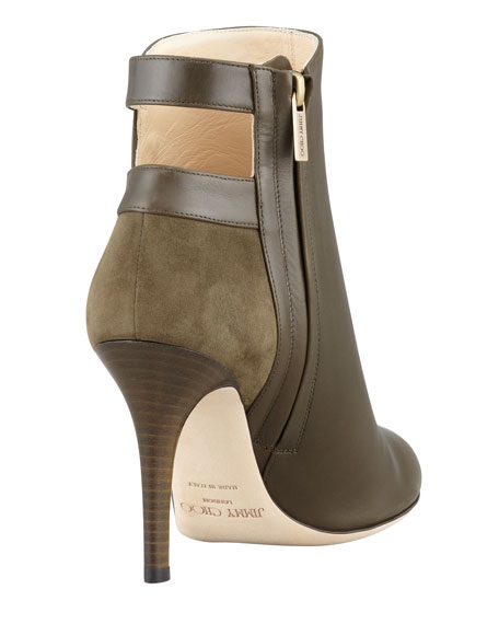Troop Button-Strap Ankle Bootie, Olive