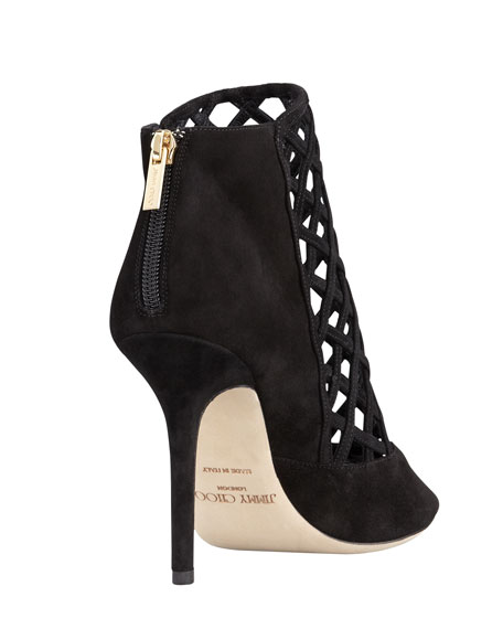 Drift Cutout Peep-Toe Suede Bootie, Black