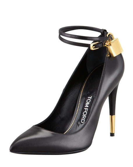Padlock Ankle-Wrap Leather Pump