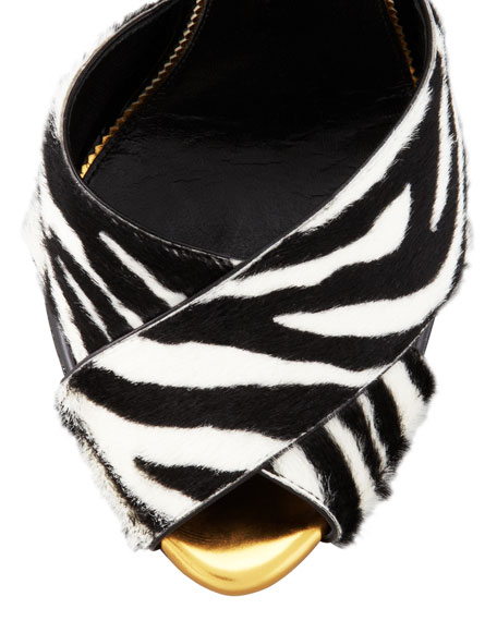 Zebra-Print Pin-Detail Ankle-Strap Sandal