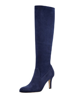 Manolo Blahnik Pascaputre Suede Knee-High Boot, Navy