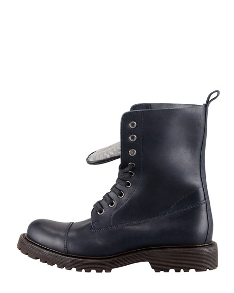 Beaded-Tongue Combat Boot, Navy