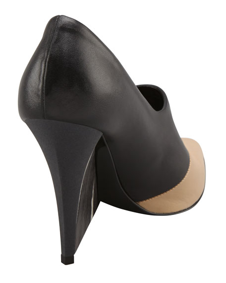 Bicolor High-Vamp Wedge Pump, Black/Sand