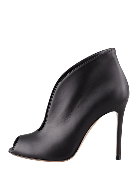 Flared Split-Front Peep-Toe Ankle Boot, Black