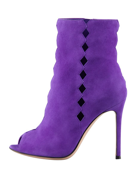 Suede Diamond-Cutout Peep Ankle Boot, Violet