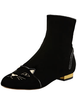 Charlotte Olympia Puss in Boots Embroidered Velvet Ankle Boot