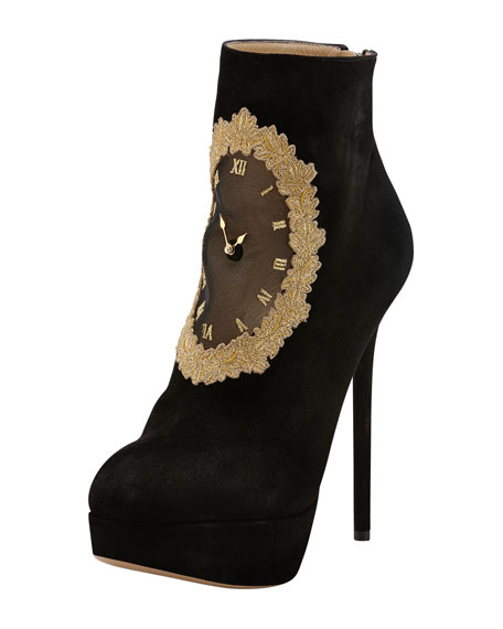On Time Clock Face Suede Ankle Boot