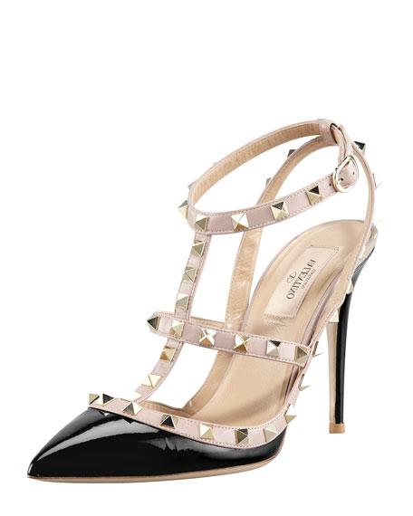 Rockstud Noir Patent Sandal, Black