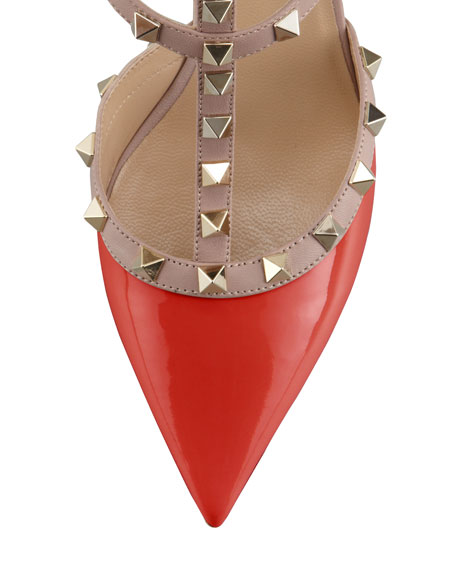 Rockstud Patent Leather Sandal, Red
