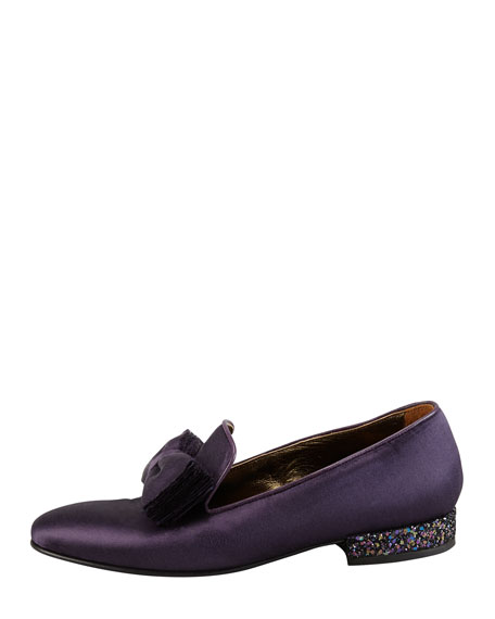 Satin Glitter-Heel Bow Slipper