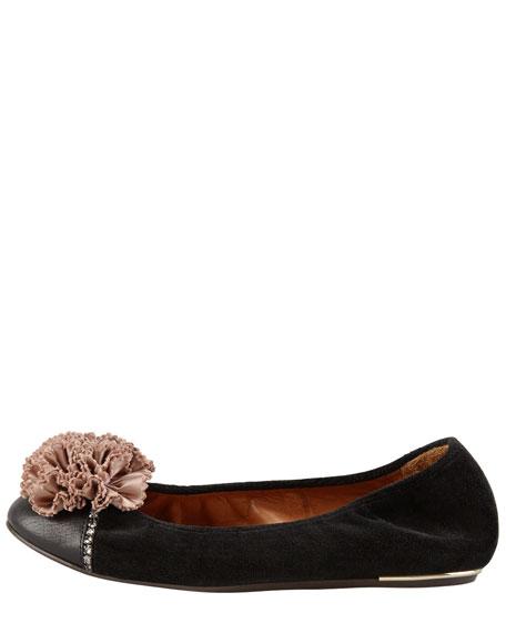 Velvet Cap-Toe Flower Ballerina Flat