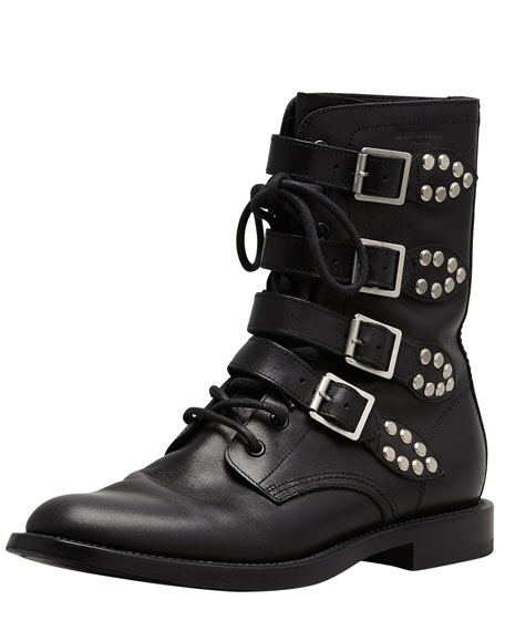 Studded Strapped Motorcycle Boot, Black