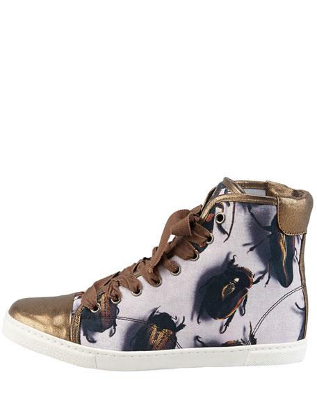 Beetle-Print High-Top Sneaker