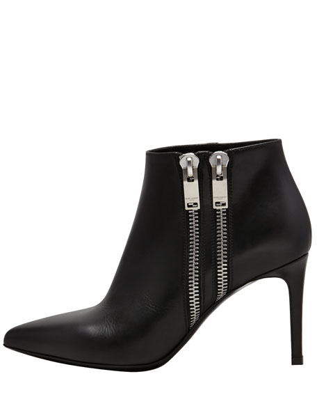 Double-Zipper Point-Toe Bootie, Black