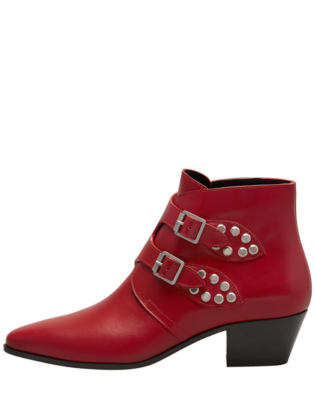 Studded Double Monk Ankle Boot, Red