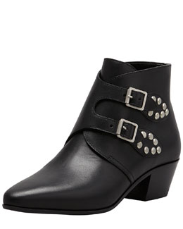 Saint Laurent Studded Double Monk Ankle Boot, Black