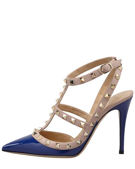 Rockstud Two-Tone T-Strap Sandal, Blue/Poudre