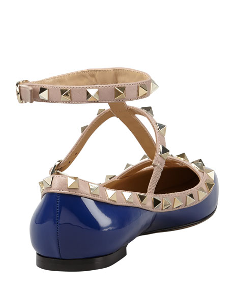 Rockstud Two-Tone Gladiator Ballerina Flat, Blue/Poudre