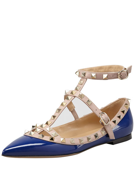 Rockstud Two-Tone Gladiator Ballerina Flat, Blue/Poudre