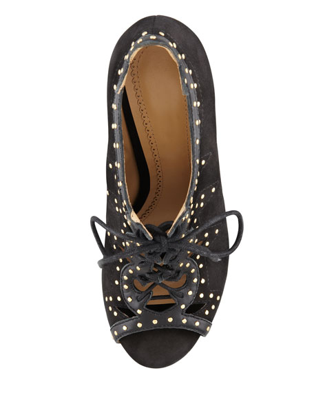 Vara Studded Lace-Up Open-Toe Bootie