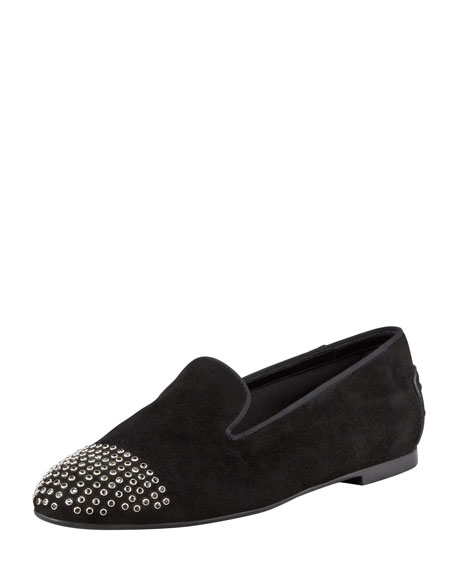 Suede Smoking Slipper with Grommets, Black