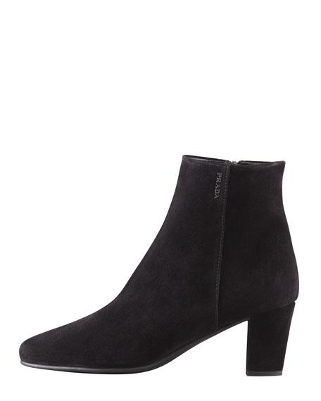 Mid-Heel Suede Ankle Boot, Black