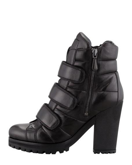 Napa Triple-Strap Ankle Boot, Black