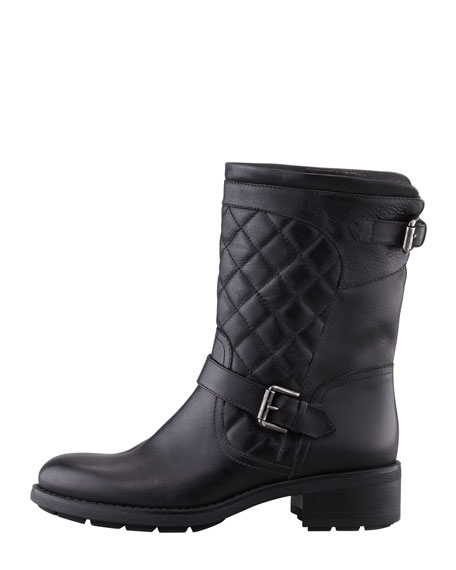 Sweetness Short Quilted Moto Boot, Black