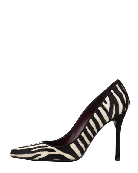 Pipenouveau Calf Hair Pump, Zebra Print