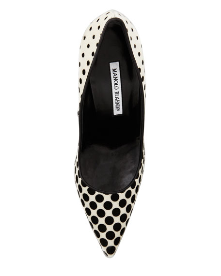 BB Optic Dot-Print Calf Hair Pump, Black/White