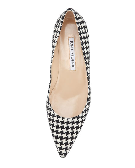 BB Houndstooth Pointed-Toe Flat, Black/White