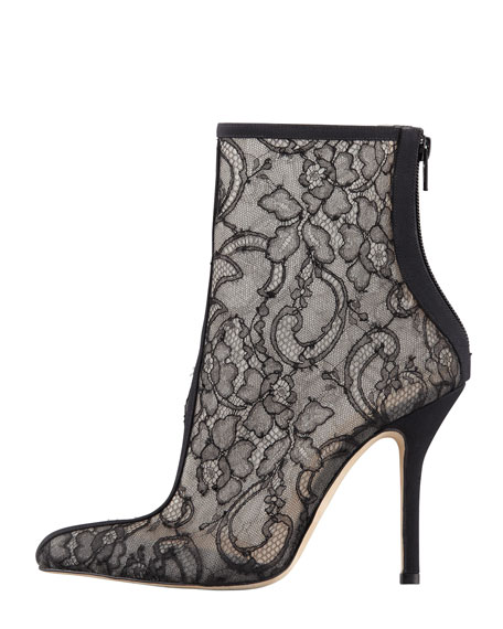 Lace-Mesh Ankle Boot