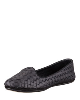 Napa Intrecciato Smoking Slipper, Black