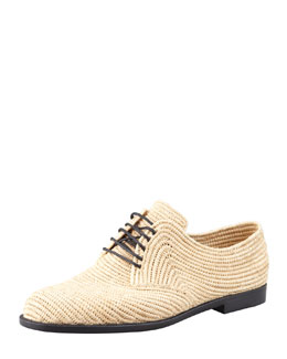 Bottega Veneta Soft Woven Straw Oxford, Natural