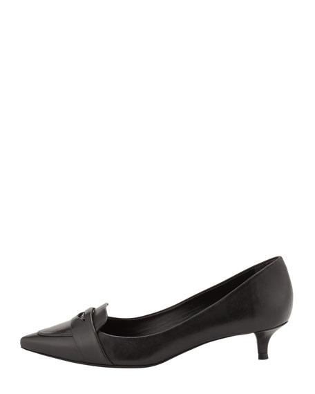 Bronson Kitten Heel Loafer Pump, Black