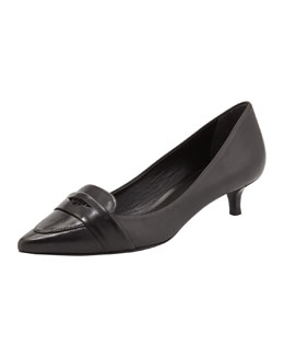Tory Burch Bronson Kitten Heel Loafer Pump, Black