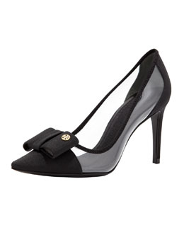 Tory Burch Aimee Point-Toe Bow Pump, Black