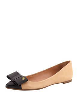 Tory Burch Aimee Point-Toe Leather Bow Flat, Beige/Black