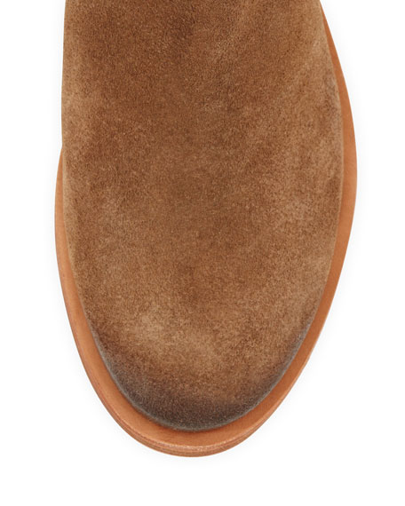 Bennie Suede Double-Strap Boot, Briarwood/Honey