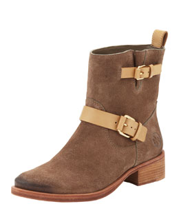 Tory Burch Bennie Suede Double-Strap Boot, Briarwood/Honey