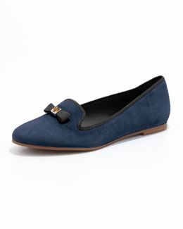 Tory Burch Mimi Suede Smoking Slipper, Bright Navy